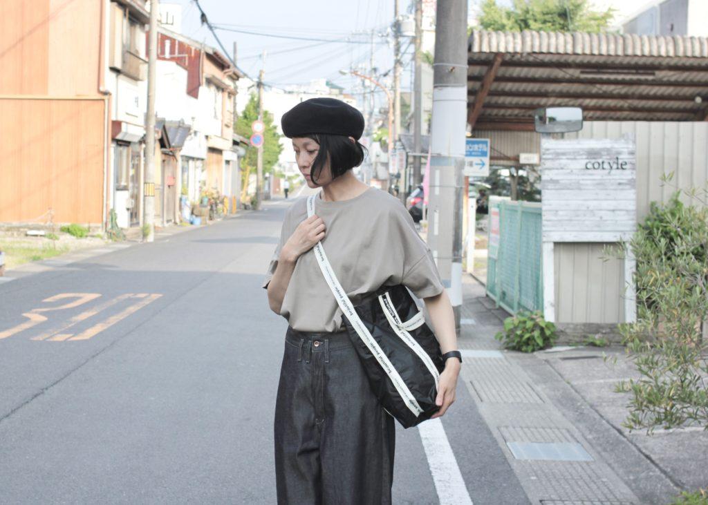 NewBrand【beautifulpeople】sail cloth logo tape shoulder bag !!